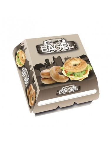 Emballage alimentaire en carton pour Bagel (Coque à fermeture par languette).