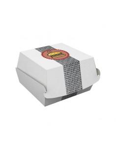 Coque pour hamburger en carton avec décor. Emballage alimentaire pour fast food.