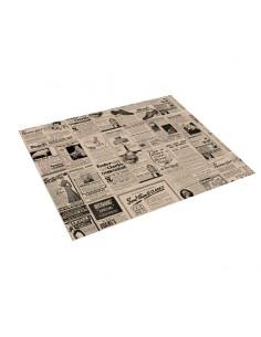 """Papier ingraissable brun pour Burger avec décor imitation papier journal """"Times""""."""