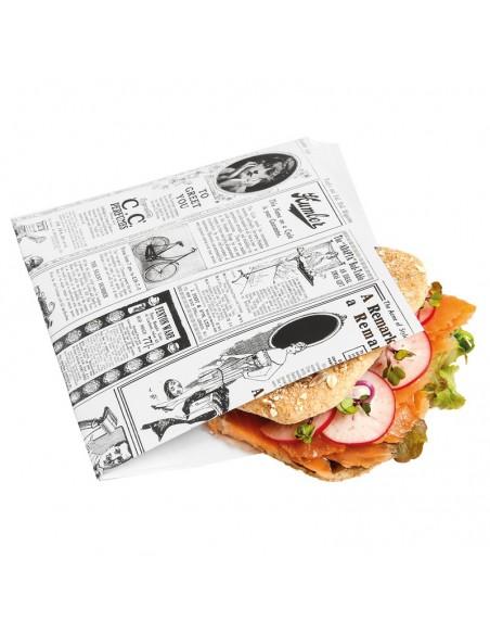 Pochette pour burger en kraft brun, paraffiné. Décor Times.