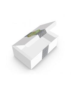 Boîte pour finger food en carton blanc avec décor Picto. Pour emballer les nuggets, mozzarella sticks, camembert balls, etc…