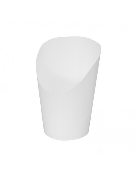 Cornet à wrap en carton blanc pour présentation en vitrine pour la vente à emporter.