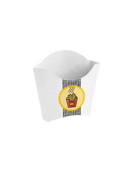 Cornet à frites en carton blanc avec décor Gamme Pictogramme.