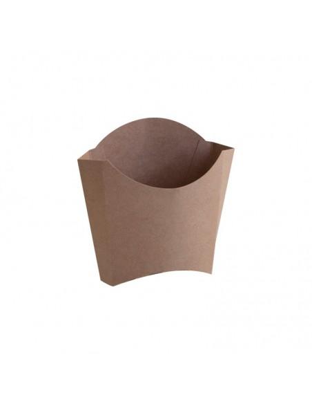 Cornet à frites en carton kraft brun neutre, sans décor.