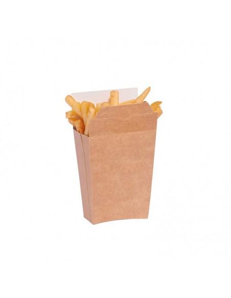 Etui en carton kraft brun, pour l'emballage des frites, refermable par pliage. Intérieur blanc.