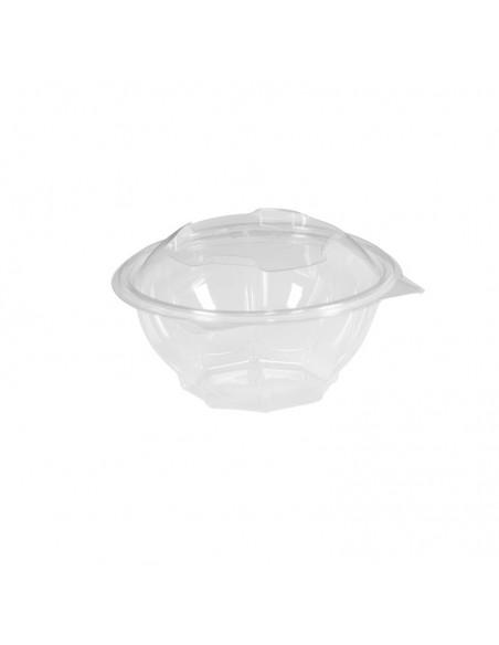 Bol à salades transparent avec couvercle attenant pour salades composées, bo-bun ; 375 CC.