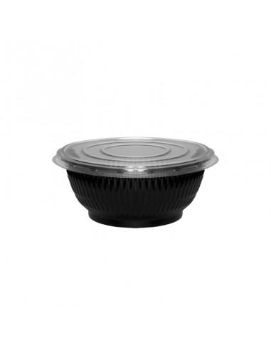 Bol à salade économique noir, couvercle transparent séparé pour salades composées, bo-bun, poke-bowl. Contenance 600 CC.