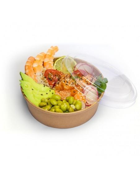 Assiette à salade en carton kraft brun, intérieur paraffiné avec couvercle séparé transparent en PET.