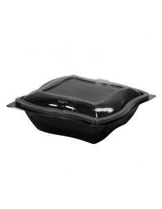 Assiette vague pour préparations de salade composées. Assiette noire en PET et couvercle transparent en PET séparé.