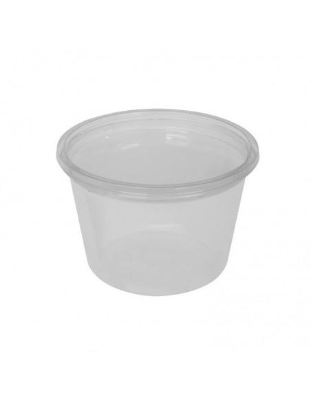 Pot à coulis transparent en PET avec couvercle séparé.