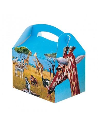 """Boîtes reaps pour menu enfant. Style """"Happy meal"""". Décor Safari."""