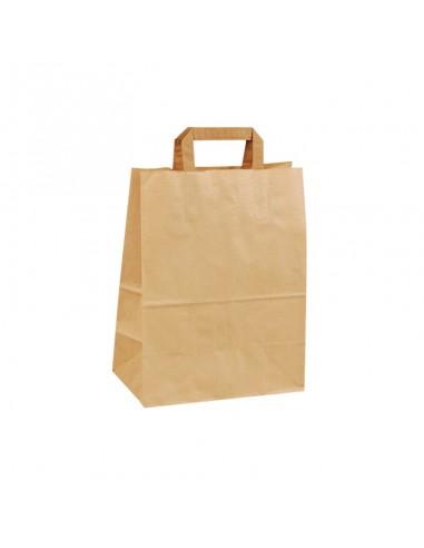 Sac cabas en kraft brun à poignées plates pour vente de hamburger, salades et soupes à emporter ou en livraison. Petit modèle.