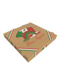 Boîte à pizza en kraft brun économique. Carton kraft à micro-cannelure pour l'emballage des pizzas en livraison et à emporter.