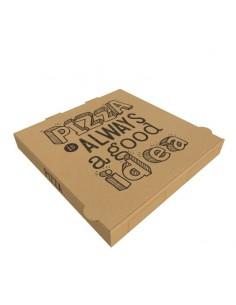 """Boîte à pizza en carton kraft brun """"Pizza is Always a Good Idea"""", hauteur 3,5 cm pour livraison de pizza et vente à emporter."""