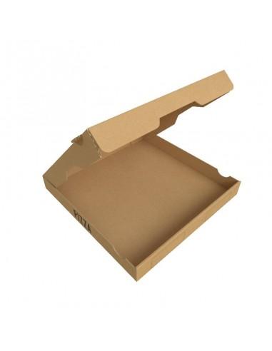 """Boîte à pizza en carton kraft brun """"Pizza is Always a Good Idea"""", hauteur 3,5 cm, Ouverture sur le dessus."""