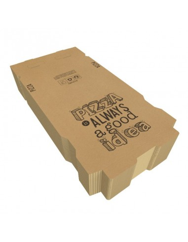 "Boîte à pizza en carton kraft brun ""Pizza is Always a Good Idea"", hauteur 3,5 cm, Colisage par 100 unités."