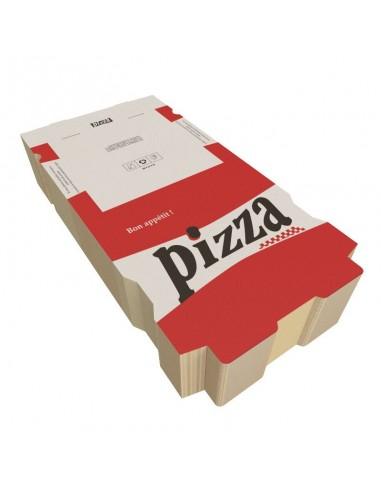 Boîte à pizza Red City, décor rouge, blanc et noir sur carton kraft blanc. Emballage carton robuste. Colisage par 100 ou 50.