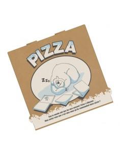 Boite à pizza spécial Hiver, noël, fin d'année en carton kraft brun. Hauteur 40 mm.