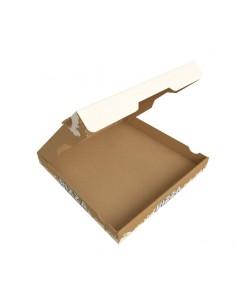 Boite à pizza spécial Hiver, noël, fin d'année en carton kraft brun. Hauteur 40 mm. Ouverture sur le dessus.