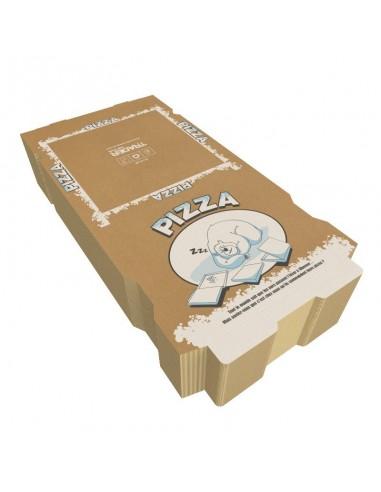 Boite à pizza spécial Hiver, noël, fin d'année en carton kraft brun. Hauteur 40 mm. Colisage par 100.