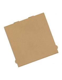 Boîte à pizza en kraft brun, neutre, sans impression. Emballage des pizzas pour la livraison.