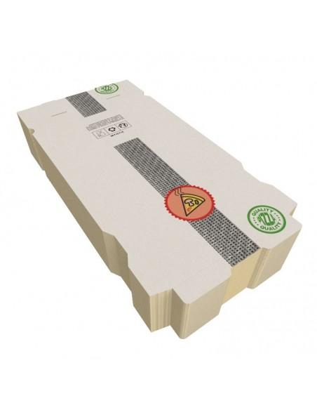 Boîte à pizza très haute résistance, très haute qualité pour la livraison. Carton kraft blanc décor Pizza. Colisage par 100.