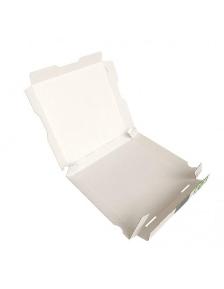 Boîte à pizza très haute résistance, très haute qualité pour la livraison. Carton kraft blanc décor Pizza. Pliage facile.