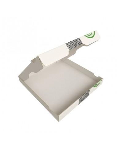 Boîte à pizza très haute résistance, très haute qualité pour la livraison. Carton kraft blanc décor Pizza. Ouverture dessus.