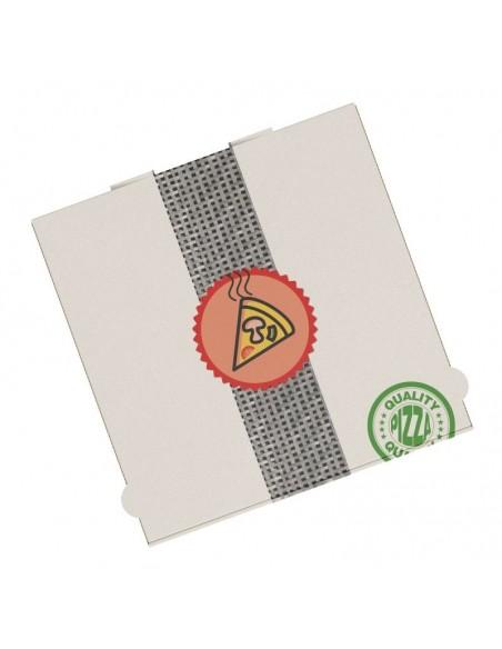 Boîte à pizza très haute résistance, très haute qualité pour la livraison. Carton kraft blanc décor Pizza.