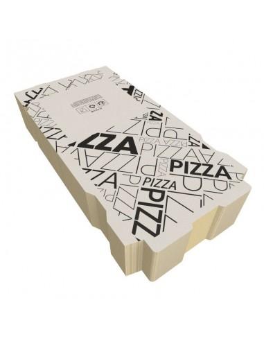 Boite à pizza design ART DECO en kraft blanc, résistance élevée. Colisage par 100 et 50.