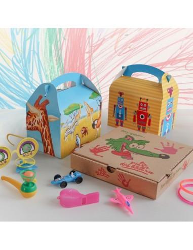 Assortiments de jouets pour les menus enfant en restauration rapide, pizzérias, cafétérias.
