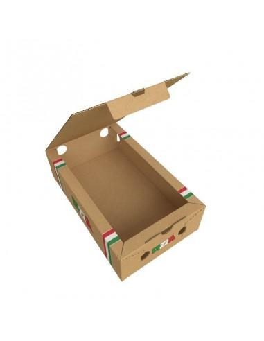 Boîte avec aérations latérales pour emballer les pizzas calzone, ouverture sur le dessus.