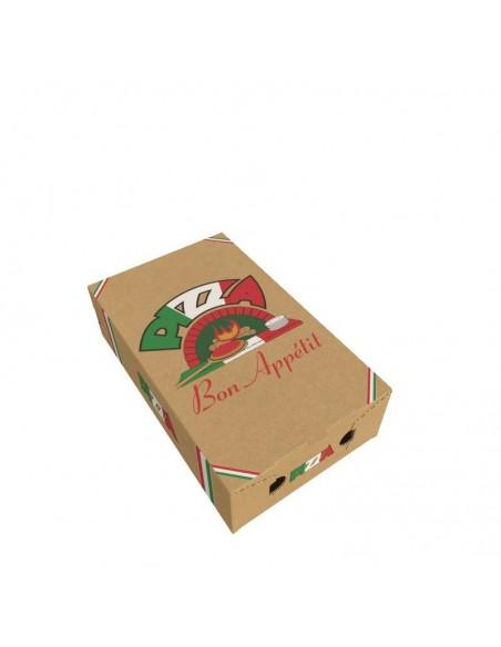 Boîte avec aérations pour emballer les pizzas calzone, vente à emporter ou en livraison.