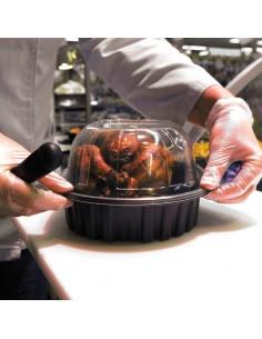 Barquette en plastique pour emballage de poulet rôti. Maintien au chaud, passe au four micro-onde.