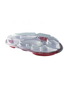Plateau luxe avec 6 compartiments composé d'une base et d'un couvercle avec sa vaisselle complète.