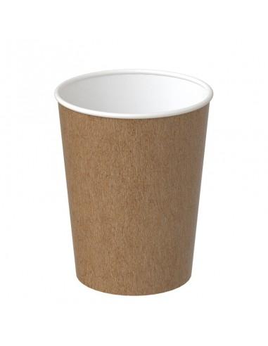 Gobelet à café en kraft brun à l'extérieur, blanc à l'intérieur.