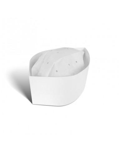 Calot en papier de couleur blanche.