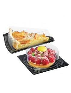 Emballages part dessert et tartelette ronde ou triangulaire avec base noire et couvercle transparent.