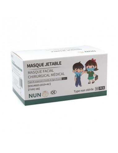 Boîte de 50 masques chirurgicaux pour enfants. Taille adapté aux enfants pour le port du masque obligatoire à l'école.